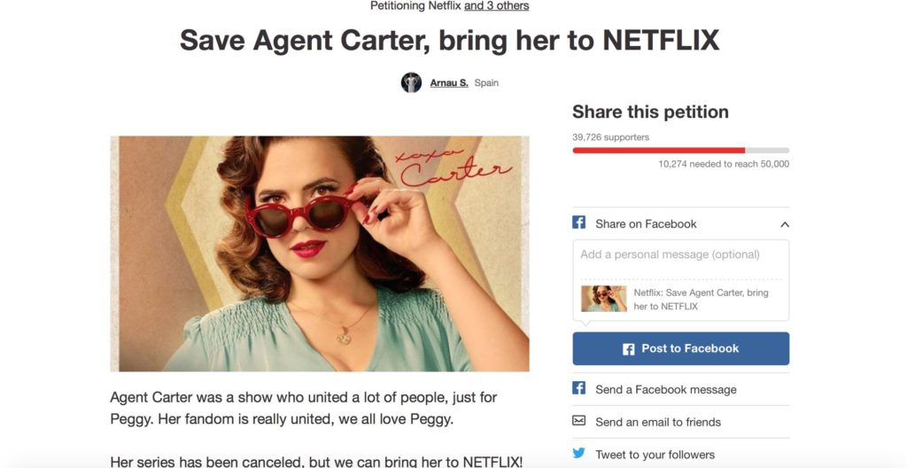 Agent Carter - Netflix Petition